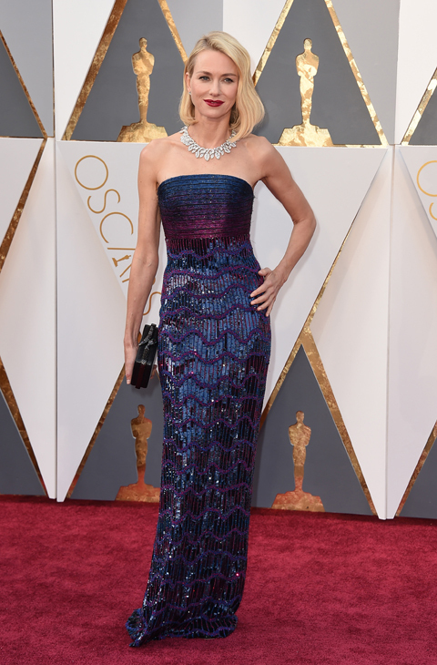 Naomi Watts arrives at the Oscars on Sunday, Feb. 28, 2016, at the Dolby Theatre in Los Angeles. (Photo by Jordan Strauss/Invision/AP)