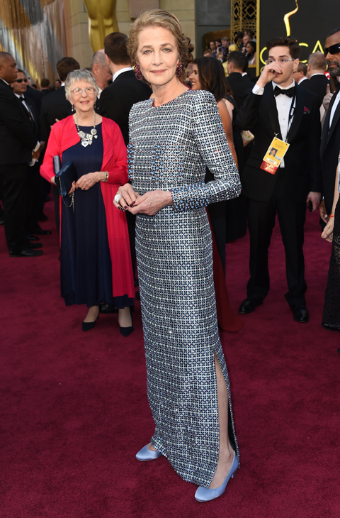 Charlotte Rampling arrives at the Oscars on Sunday, Feb. 28, 2016, at the Dolby Theatre in Los Angeles. (Photo by Richard Shotwell/Invision/AP)